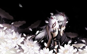 Picture flowers, darkness, mask, guy