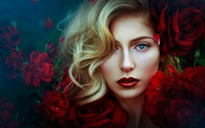 Picture look, girl, flowers, face, hair, roses, makeup, lips, Melanie Dietze