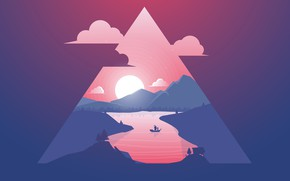 Picture Sunset, The sun, Minimalism, River, Ship, Silhouette, Triangle
