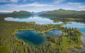 Picture forest, mountains, lake, Alaska, panorama, Alaska, Alaska range, Alaska Range, Chelatna Lake