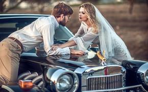 Picture auto, girl, male, the bride