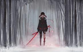 Picture Girl, Winter, Style, Snow, Fiction, Jun, Sword, Forest, Aoi Ogata