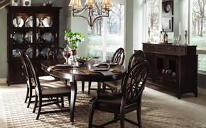 Picture design, house, table, furniture, chairs, interior, dining room