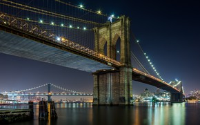 Picture The evening, The city, Brooklyn Bridge
