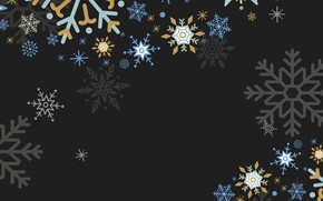 Picture snowflakes, background, black, new year, texture