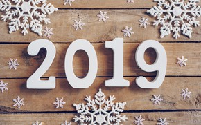 Picture winter, snowflakes, tree, Board, New Year, new year, wood, winter, background, snowflakes, 2019