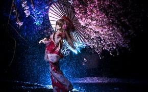 Wallpaper night, umbrella, Japanese, doll, Sakura, kimono