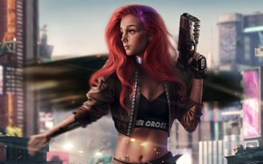 Picture girl, the city, weapons, fiction, Girl