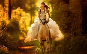 Picture autumn, forest, girl, nature, horse, the bride