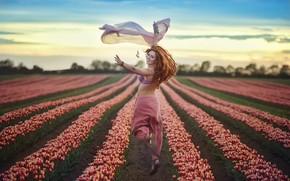 Picture girl, flowers, smile, running, flight
