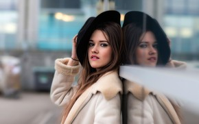 Picture look, pose, reflection, street, model, portrait, hat, makeup, hairstyle, brown hair, bokeh, sheepskin, Joan Le …