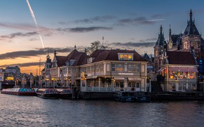 Wallpaper the sky, water, clouds, landscape, river, castle, street, view, Windows, building, home, boats, the evening, ...