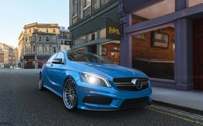 Picture Mercedes, road, winter, amg, street, england, Forza, A45 AMG, Forza Horizon 4, Mercedes amg, backery, …