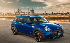 Picture road, auto, the sky, blue, bridge, Mini, John Cooper