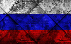 Picture Russia, Europe, Flag, Russian Federation, Russian Flag, Flag Of Russia, Grunge Art, Rhombus Grunge Texture