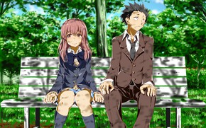 Picture girl, bench, Park, guy, two, Form voice, You No Katachi