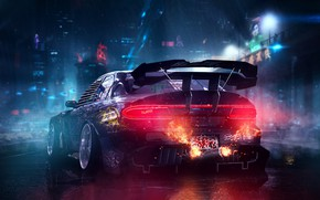 Picture Auto, Night, The city, Fire, Machine, Tuning, Rain, Mazda, RX-7, Mazda RX-7, Cyberpunk, Transport & …