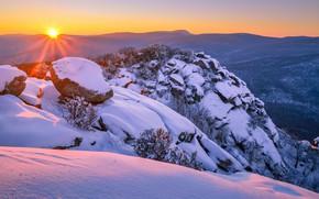 Picture winter, snow, sunset, mountains, the snow, Virginia, Virginia, Shenandoah National Park, Blue Ridge Mountains, Blue …