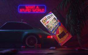 Picture Auto, Machine, Style, Machine, Art, 80s, Porsche 911, Style, Neon, Rendering, Illustration, Concept Art, Vehicles, …