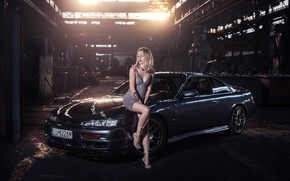 Picture Car, Blonde, Tattoo, Nissan Silvia S14