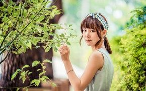 Picture look, girl, branches, Asian, bokeh