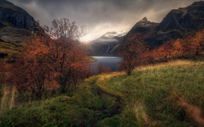 Picture autumn, the sky, grass, the sun, clouds, light, mountains, nature, the slopes, tops, track, path, …