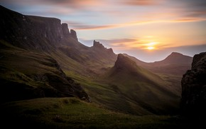 Picture the sun, clouds, sunset, mountains, dawn, the slopes, tops, dal, Scotland, haze