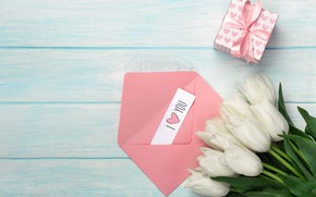 Picture box, gift, the inscription, tulips, the envelope, Mother's day