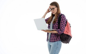 Picture girl, jeans, glasses, laptop, shirt, backpack, student