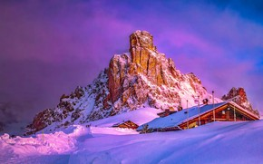 Picture winter, clouds, light, snow, mountains, rock, house, rocks, the slopes, mountain, the evening, morning, top, …