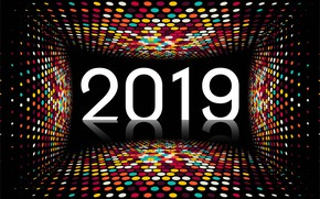 Picture colorful, New Year, figures, black background, black, background, New Year, mosaic, Happy, sparkle, 2019