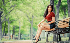 Picture shoes, sexy, smile, skirt, brunette, blouse, legs, Asian, bench, bokeh