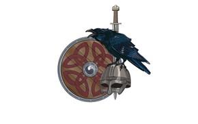 Picture patterns, sword, helmet, shield, Raven, the Vikings