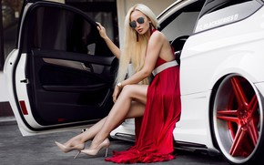 Picture machine, auto, girl, pose, feet, glasses, shoes, red dress, long hair, Andrew Stern, Agnetha Royal