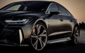 Picture Audi, black, RS 7, 2020, air suspension, V8 Biturbo, RS7 Sportback, 4.0 L., 962 л.с., …