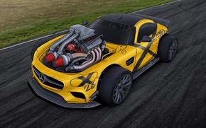 Picture Auto, Figure, Yellow, Machine, Engine, Mercedes, Car, Art, Illustrations, Mercedes-AMG, Transport & Vehicles, Dmitry Strukov, …