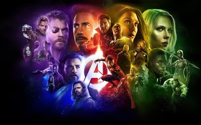 Wallpaper fiction, collage, black background, poster, characters, comic, superheroes, MARVEL, Avengers: Infinity War, The Avengers: infinity ...