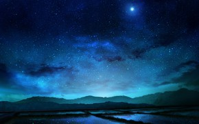 Picture field, the sky, stars, night