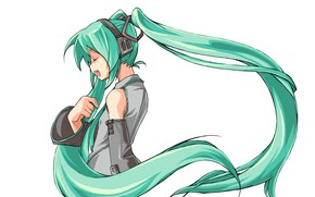 Picture headphones, white background, profile, vocaloid, Hatsune Miku, long hair, Vocaloid, closed eyes, singing, two tails