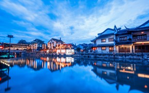 Picture lights, home, reflection, China, Xitang