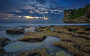 Picture sea, clouds, rock, Bali, Indonesia