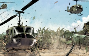 Picture palm trees, figure, helicopters, Vietnam, landing, landing, Bell, infantry, cavalry, US Army, UH-1 Huey