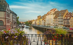 Picture flowers, bridge, river, France, home, Strasbourg