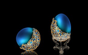 Picture gold, blue, egg