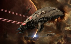 Picture space, nebula, planet, station, space, battle, spaceship, station, eve online, battle, space ship, coooper