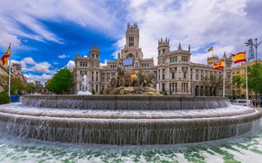 Picture the sky, the sun, clouds, home, area, fountain, sculpture, Spain, Palace, Madrid, Cybeles Square