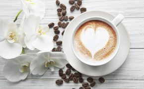 Picture heart, coffee, Cup, white, Orchid