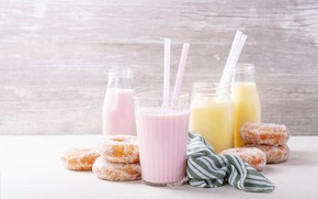 Picture cocktail, donuts, milk, sugar