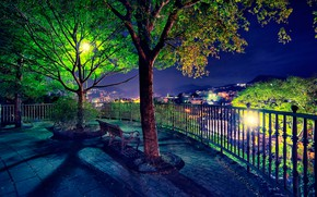 Picture bench, lights, night view, lookout