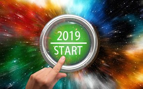 Picture button, New year, start, 2019, come